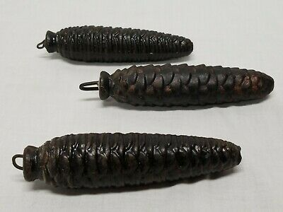 "3 Vintage Pine Cone Cuckoo Clock Weights Collectibles 5"" - ~15 oz Each"