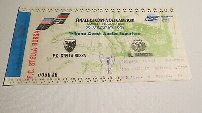 Ticket Champions Cup Final Red Star Beograd v Olympique Marseille 29/05/1991