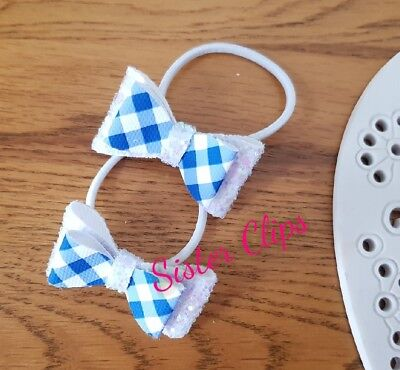"Back to school set 2 royal blue gingham & white glitter 1.5"" pigtails bobbles"