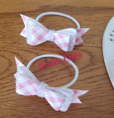 "Back to school set of 2 pink gingham & white glitter 2.5""  Hair Bow bobbles"