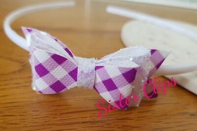 Back to School purple gingham & white bow hair Alice band