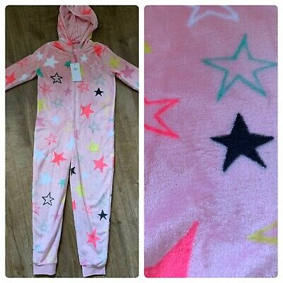 M&S Girls Pink Soft star design all in one nightwear Pjs age 11-12 Years NEW BNW
