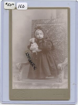 Cabinet Photo Little Girl Victorian Dress Holding A Small Doll Ornate Chair