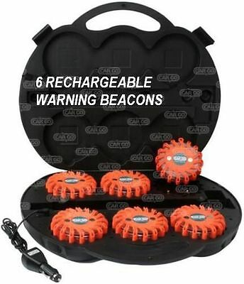 6 Rechargeable Magnetic Led Flashing Breakdown Warning Amber Beacon Flares