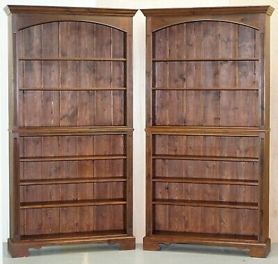 Matching Pair Of Large Vintage Library Bookcases In Pine With Adjustable Shelves