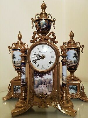 FRENCH IMPERIAL STYLE GILT & PORCELAIN MANTEL CLOCK  GARNITURE by Franz Hermle
