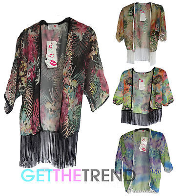 Girls Kimono Ladies Loose Floral Chiffon Kids Pom Pom Flower Cardi Top
