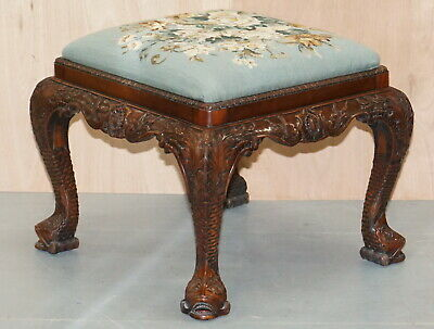 George Ii Hand Carved Mahogany Floral Embroidered Stool For Dressing Table Piano
