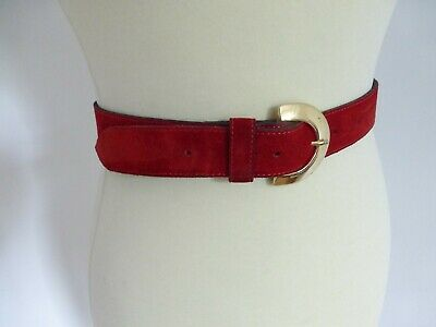 Vintage 80s Sally Gissing red suede gold buckle slim waist belt W 30 32 34 VGC