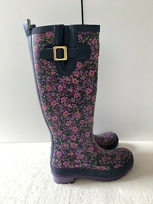 Joules Ladies/Girls Purple Ditsy Floral Wellies Buckle Size Uk 3 / 36