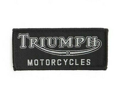 GENUINE TRIUMPH MOTORCYCLE SEW ON PATCH VINTAGE LOGO BADGE EMBROIDERED in BLACK