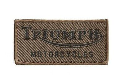 GENUINE TRIUMPH MOTORCYCLE SEW ON PATCH VINTAGE LOGO BADGE EMBROIDERED in KHAKI