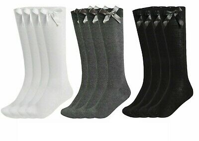 Girls Knee high Bow Socks School Uniform Cotton Rich In Many Sizes & Colours Lot