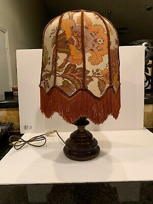 Victorian Fringed Scallopped Shade On Wooden Lamp Base