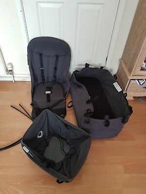 Bugaboo cameleon 1, 2 grey bassinet carrycot seat, free basket and hood rods
