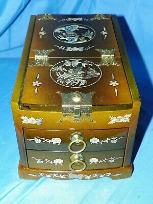 Antique Chinese wood jewelry/cosmetic box w/ mother-of-pearl inlay & mirror