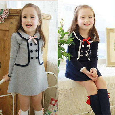 Toddler Kids Baby Girls Long Sleeve College Dress Casual A-Line Winter Dresses