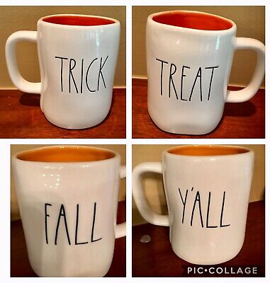 Rae Dunn Fall Y'All Trick Treat Double Sided Halloween Mugs You Choose