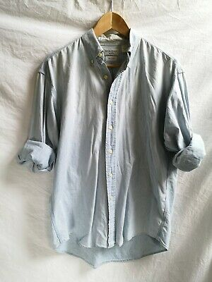 Vintage Ysl Yves Saint Laurent Light Blue Denim Cotton Jean Shirt Medium M/L