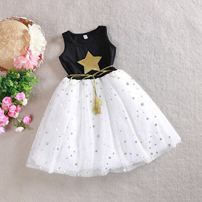 Summer Girl Princess Lace Dress Kids Baby Party Pageant Star Print Tutu Dresses
