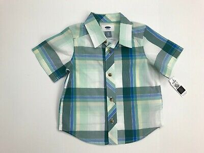 Baby Gap Boys Plaid Shirt 2 Toddler Short Sleeve Button Down NWT 100% Cotton
