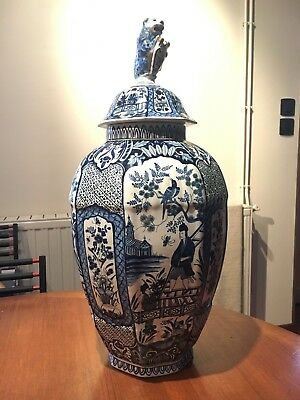 Grand Pot Couvert Ceramique Faience , Delft , Signé Apk , Decor Asiatique , Vase