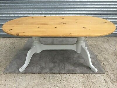 Solid Pine Oval Dining Table with Twin Pedestal Base VGC