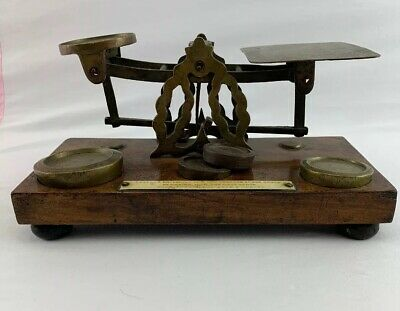 Fine Antique Postal Scale 19th Century - 5 Weights - Brass & Oak