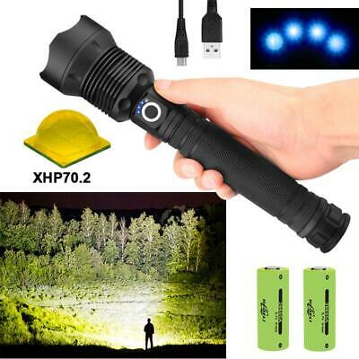 Led Powerful Flashlight Torch 90000 Lumens XHP70.2 USB Torch Lantern