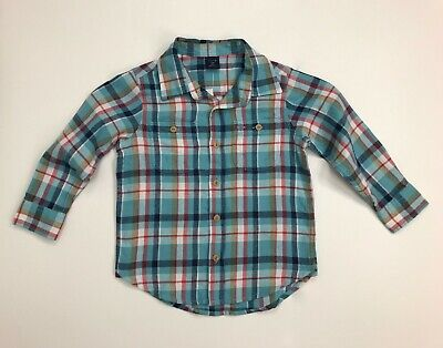 Baby Gap Boys Flannel Button Down Long Sleeve Shirt 4 Toddler NWT Cotton Plaid