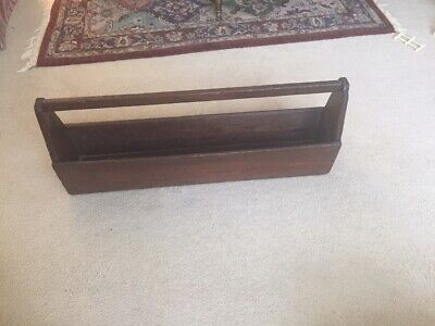 Antique Wooden Primitive Large  Carpenter's Carrying Tote Caddy/Tool Box