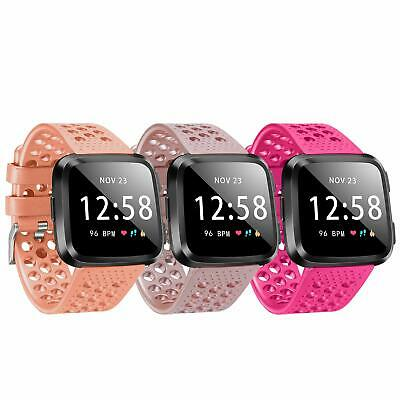 For Fitbit Versa Band Silicone Sport Wrist Strap Replacement Small Women 3 Pack