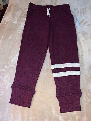 NWT Girls Size 5 (XS) OLD NAVY Full Length Red Purple Striped Jersey Joggers