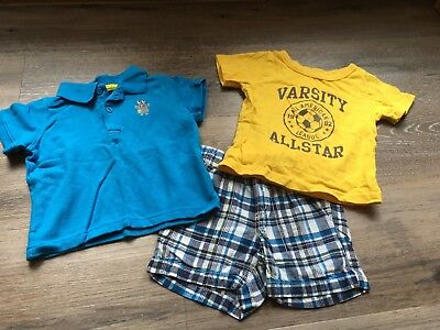 Carter's Boys Size 18 Month 3 Piece Outfit Turquoise Polo Blue Plaid Shorts &Tee
