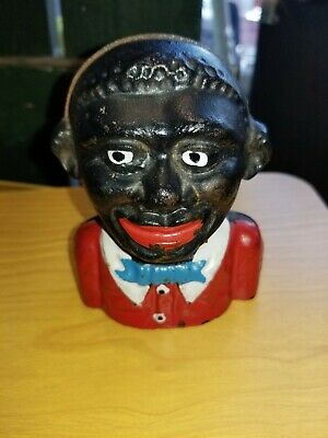 1900s RARE The Young N****r Bank Cast Iron Still Bank Jolly Young Black Man