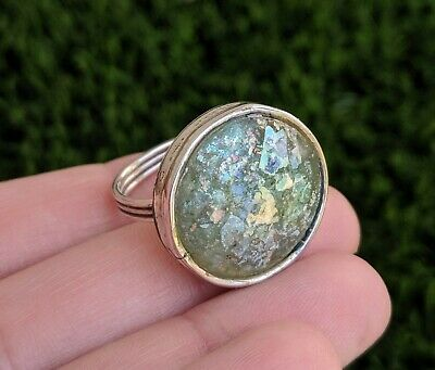 Round Ancient Roman Glass Sterling Silver 925 Ring Size 7.5