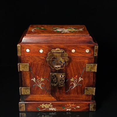 """10"""" Chinese old huanghuali wooden handcarved inlay flowers birds Jewelry box"""
