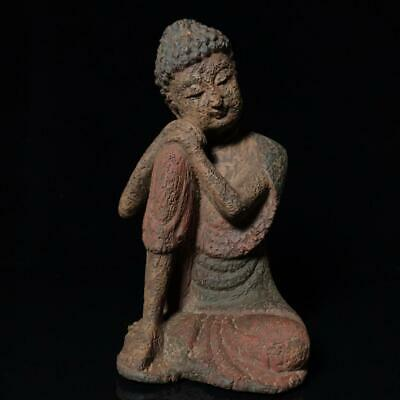 """10"""" Chinese old Antique aloeswood wooden handcarved Shakya Muni statue D3"""