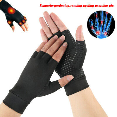 Copper Compression Gloves Fit  Arthritis Carpal Tunnel Hand Wrist Brace Support