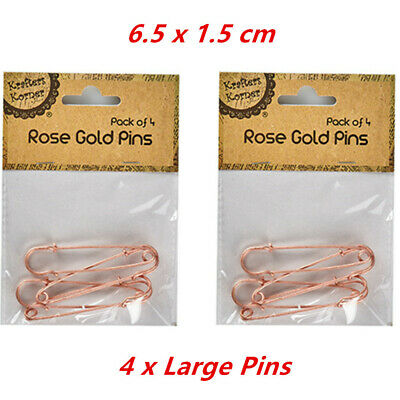 4 x Large Safety Brooch Pin 6.5cm Rose Gold Decor Scarf Shawl Jewellery Craft