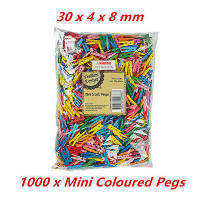 1000 x Mini Coloured Wooden Craft Pegs Mixed Colour Decoration Cloth Hanging