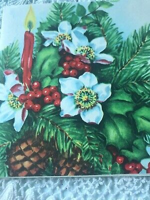 Vintage Christmas Card Art Deco Candle Red Taper Pine Cones Holly Magnolia
