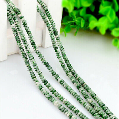 1pcs 2x4mm Green Stone Abacus Loose Bead Craft Natural DIY Spacer Makings