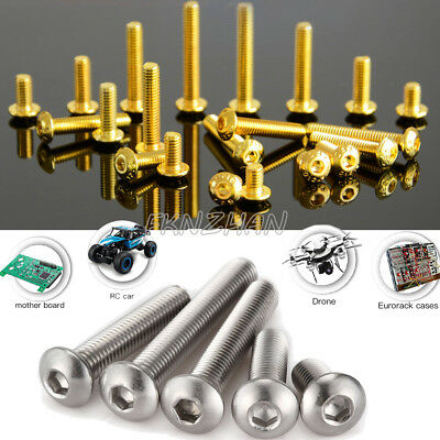 50X M3 M4 M5 M6 Metric Button Head Screw Hex Socket Bolts Alloy/Stainless Steel
