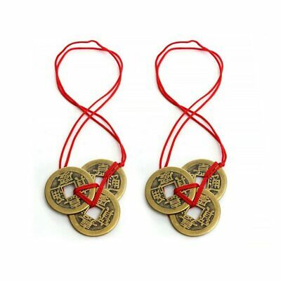 2 Pcs Feng Shui Coins Meaningful Coins Red Strings Wealth Good Luck Colorful