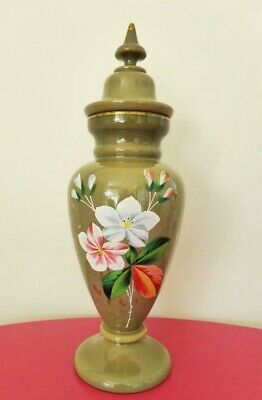 Victorian Green Opaline Glass Lidded Urn, Hand Painted Flowers, 19th Century