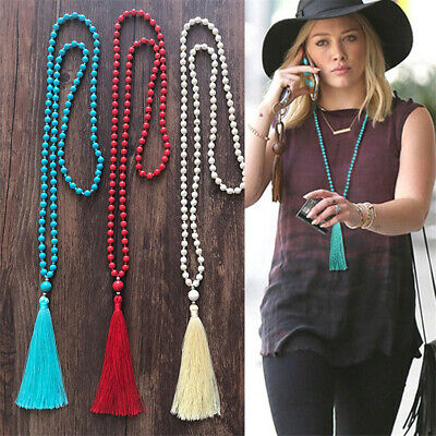 Antique Turquoise Handmade Tassel Bohemia Necklace Jewelry Gift Party Flawless