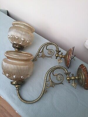 Pair Of Antique Brass Wall Light Converted With Glass Shades