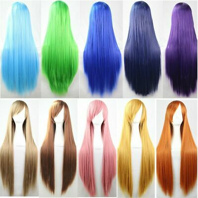 80cm Long Straight Cosplay Party Women Anime Hair Full Wig Fancy Dress 18 Colors
