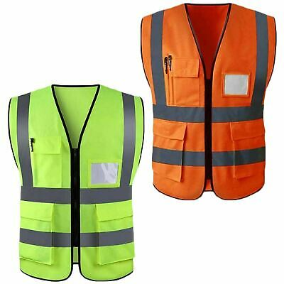 Hi Vis Safety Vest High Visibility Waistcoat With Pockets Yellow Orange S-5XL